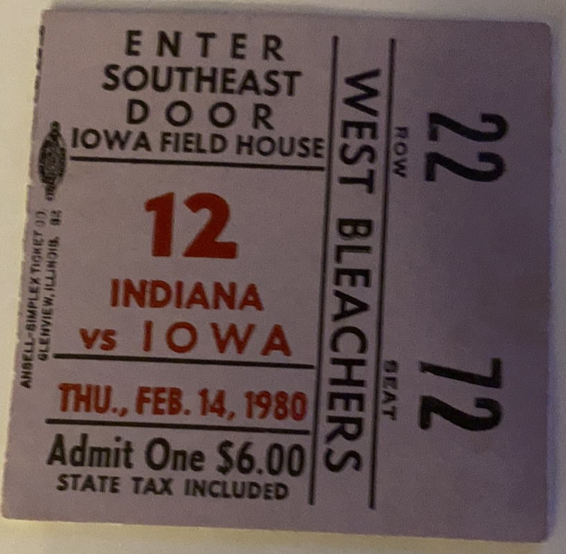1980 Indiana University at Iowa Basketball Ticket Stub