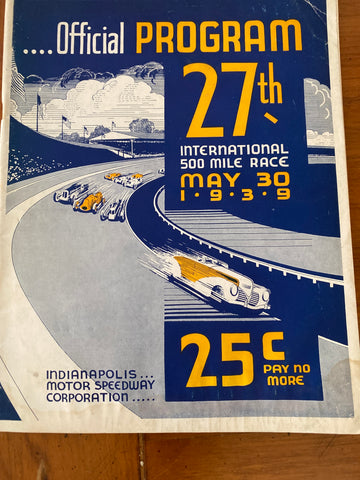 1939 Indianapolis 500 Race Program