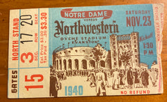 1940 Notre Dame vs Northwestern Football Ticket Stub