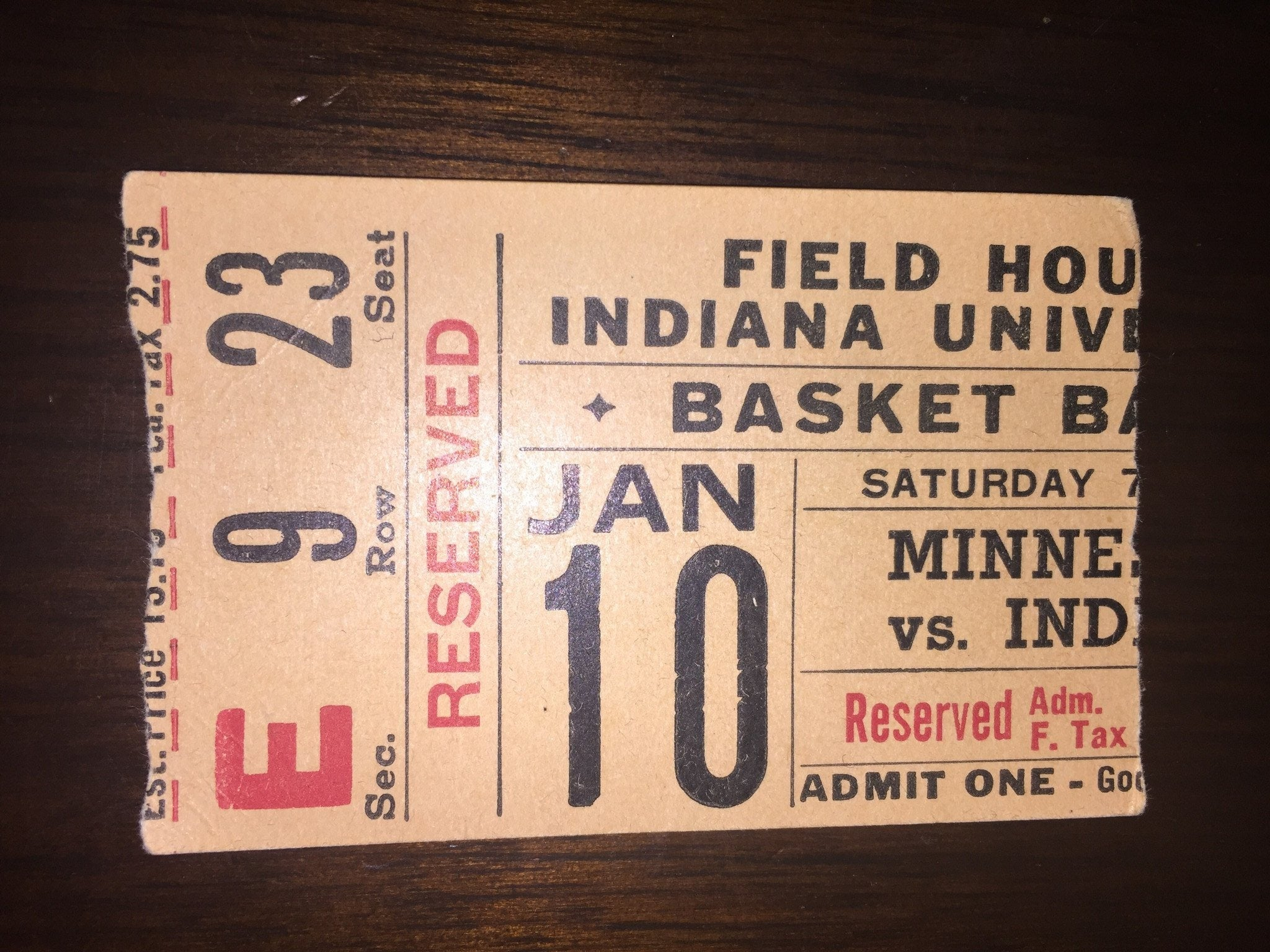 1953 Indiana vs Minnesota Basketball Ticket Stub - Vintage Indy Sports