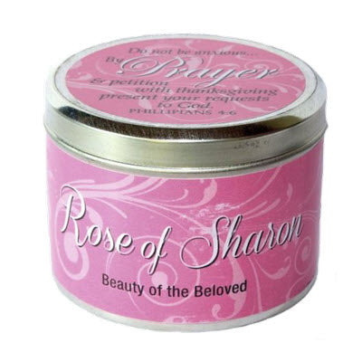 Candle Tin Rose of Sharon Scripture