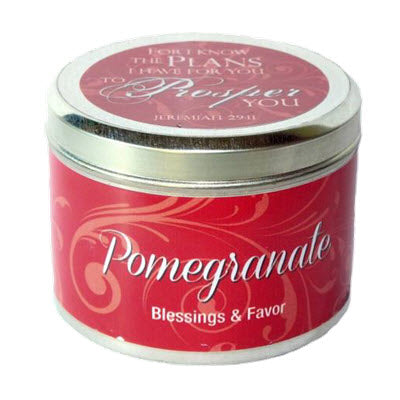 "Candle Tin Pomegranate Scripture - ""For I know the Plans"""