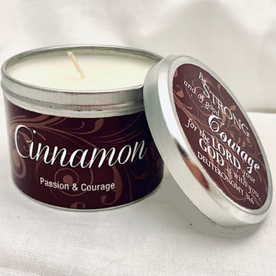 Candle Tin  Cinnamon Scripture