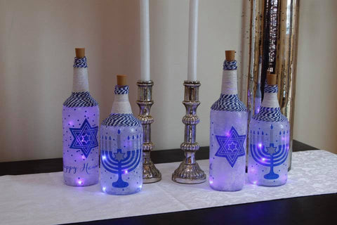 Star of David Lighted Bottles
