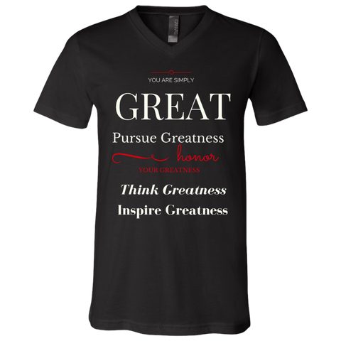 Greatness Lies Within Pursue Greatness Unisex Jersey SS V-Neck T-Shirt