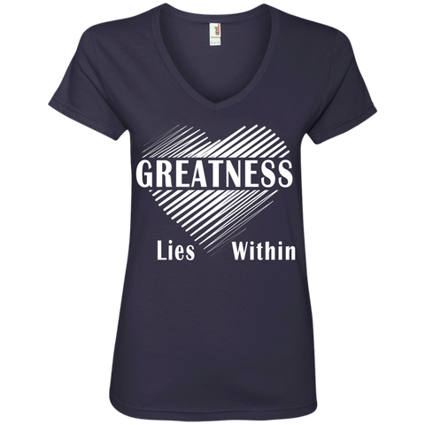 Ladies' V-Neck T-Shirt Greatness Within