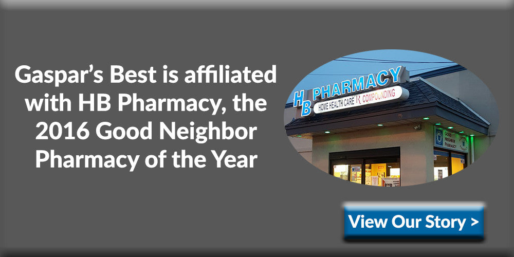 Gaspar's Best is affiliated with HB Pharmacy, the 2016 Good Neighbor Pharmacy of the Year. This is a  national award for independent pharmacies.