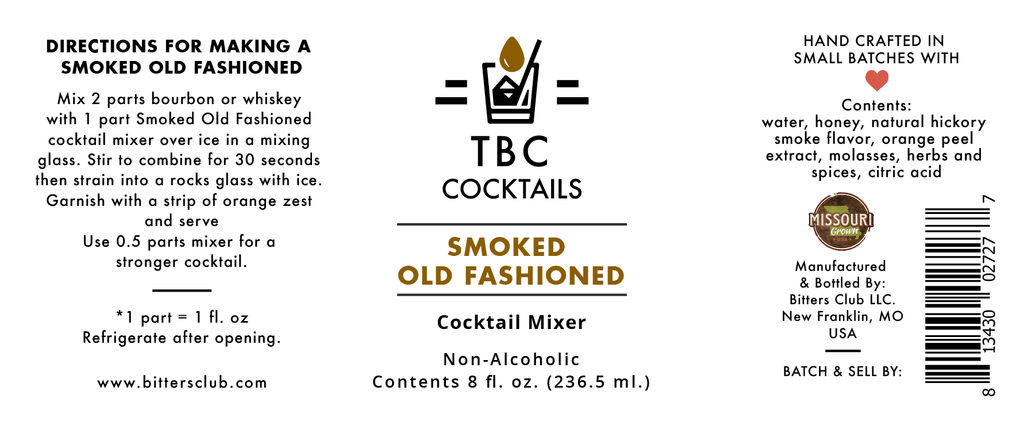 Smoked Old Fashioned Cocktail Mixer, 8 fl. oz. - The Bitters Club