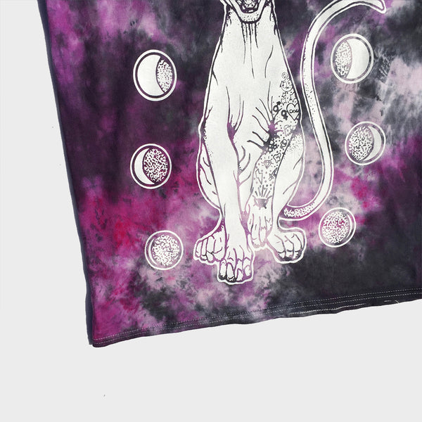 Moon Cat Purple/Black Tie Dye T-shirt