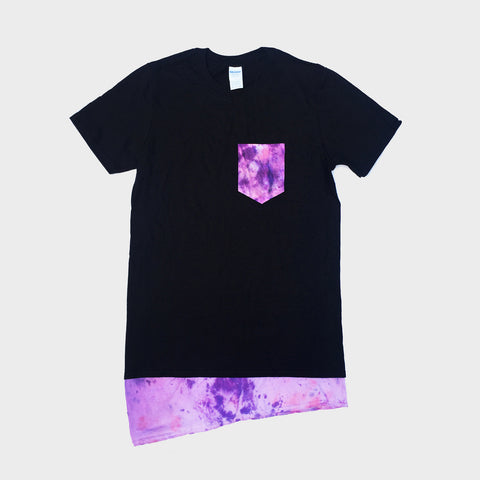 Pink/Purple Asymetric Pocket T-shirt - Longline