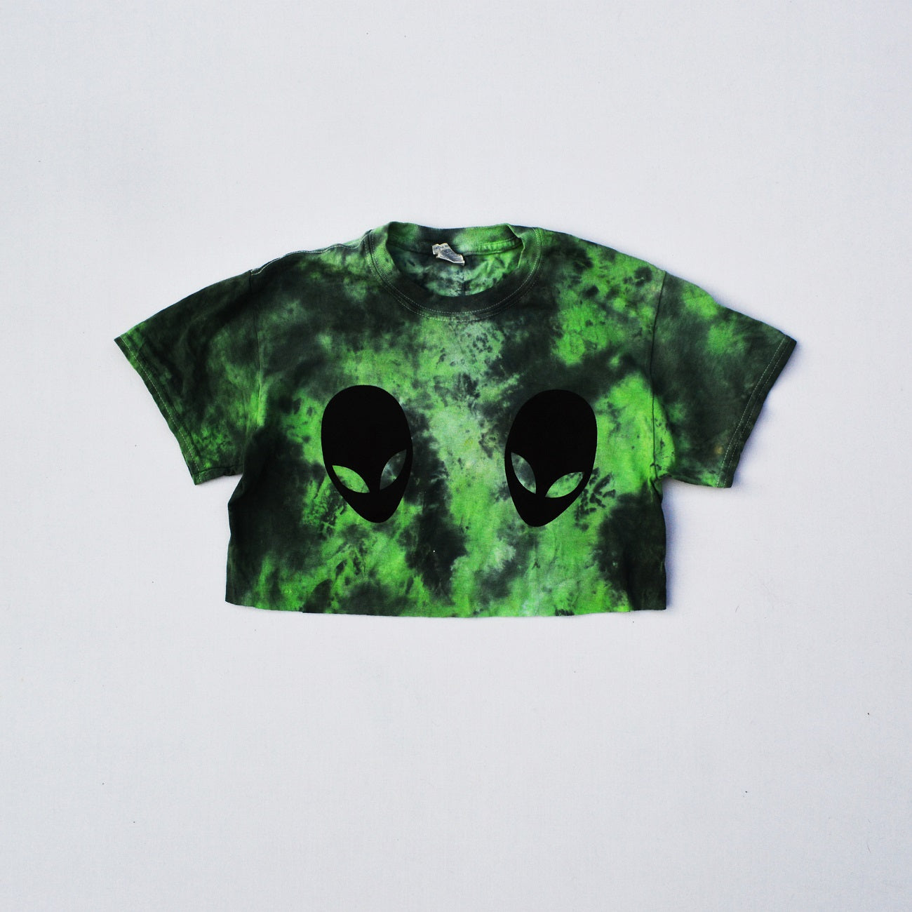 Alien Boobs Green/Black Tie Dye Crop Top
