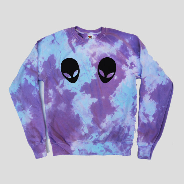 Alien Boobs Purple/Blue Tie Dye Sweatshirt