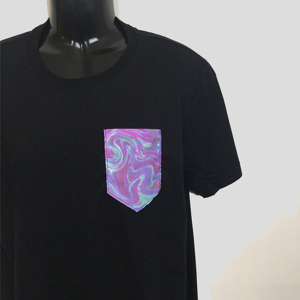 Purple Asymetric Pocket T-shirt - Longline