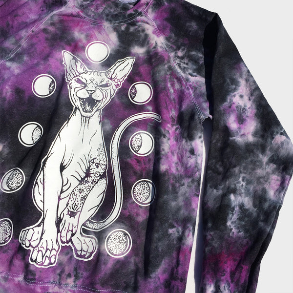 Moon Cat Purple/Black Tie Dye Sweatshirt