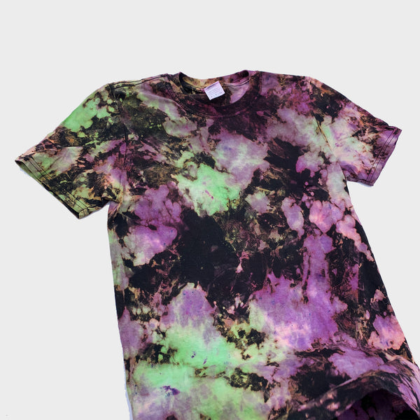 Purple/Green/Black Reverse Tie Dye T-shirt