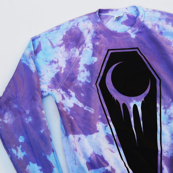 Crescent Moon Coffin Tie Dyed Soft Style Sweatshirt - Purple/Blue