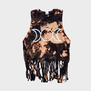 Mother Maiden Crone Acid Burned Tie Dye Fringed Crop Top