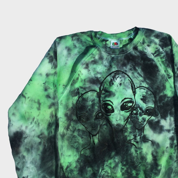 Aliens Green/Black Tie Dye Sweatshirt
