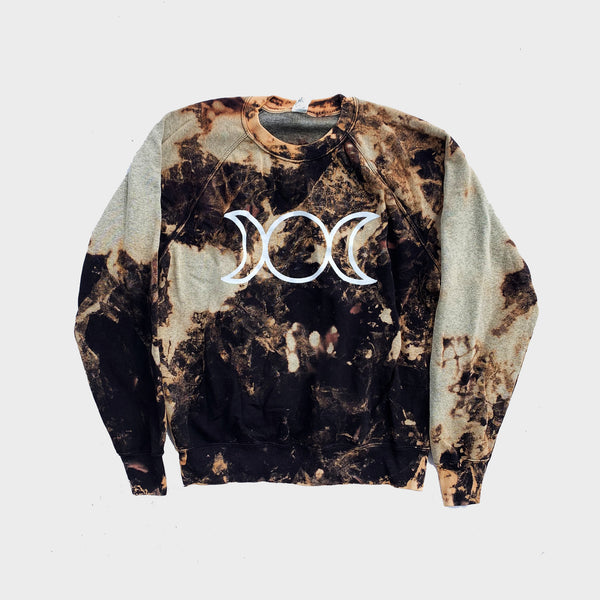 Mother Maiden Crone Acid Burned Tie Dye Sweatshirt