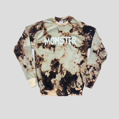 Monster Acid Burned Tie Dye Sweatshirt