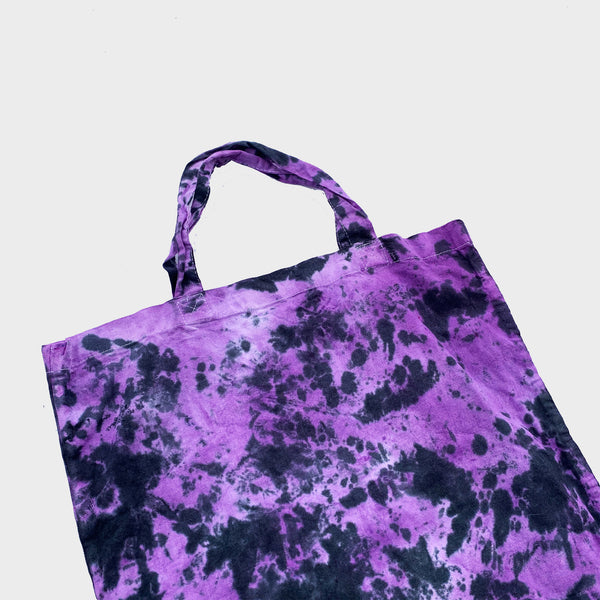 Purple/Black Tie Dye Shopper Tote Bag