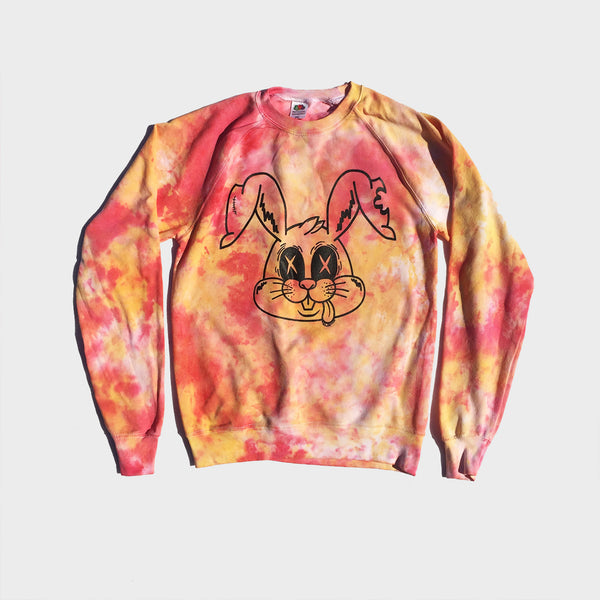Zombie Rabbit Red/Yellow Tie Dye Sweatshirt