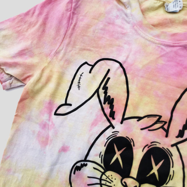 Zombie Rabbit Pink/Yellow Tie Dye T-shirt