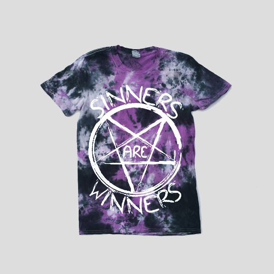 Sinners Are Winners Purple/Black Tie Dye T-shirt
