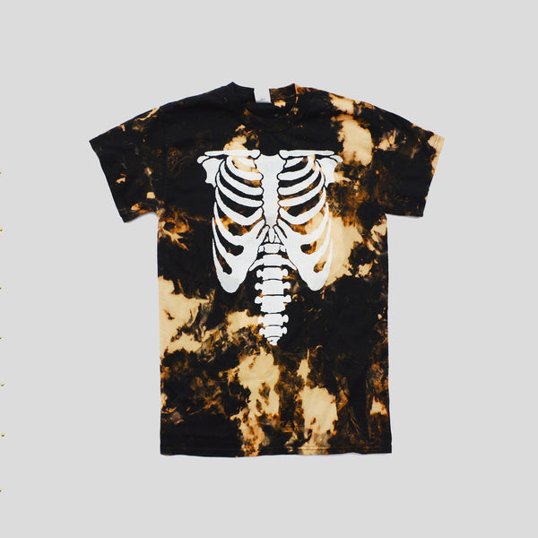 Skeleton Acid Burned Tie Dye T-shirt