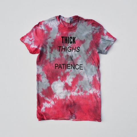 Thick Thighs Red/Black Tie Dye T-shirt