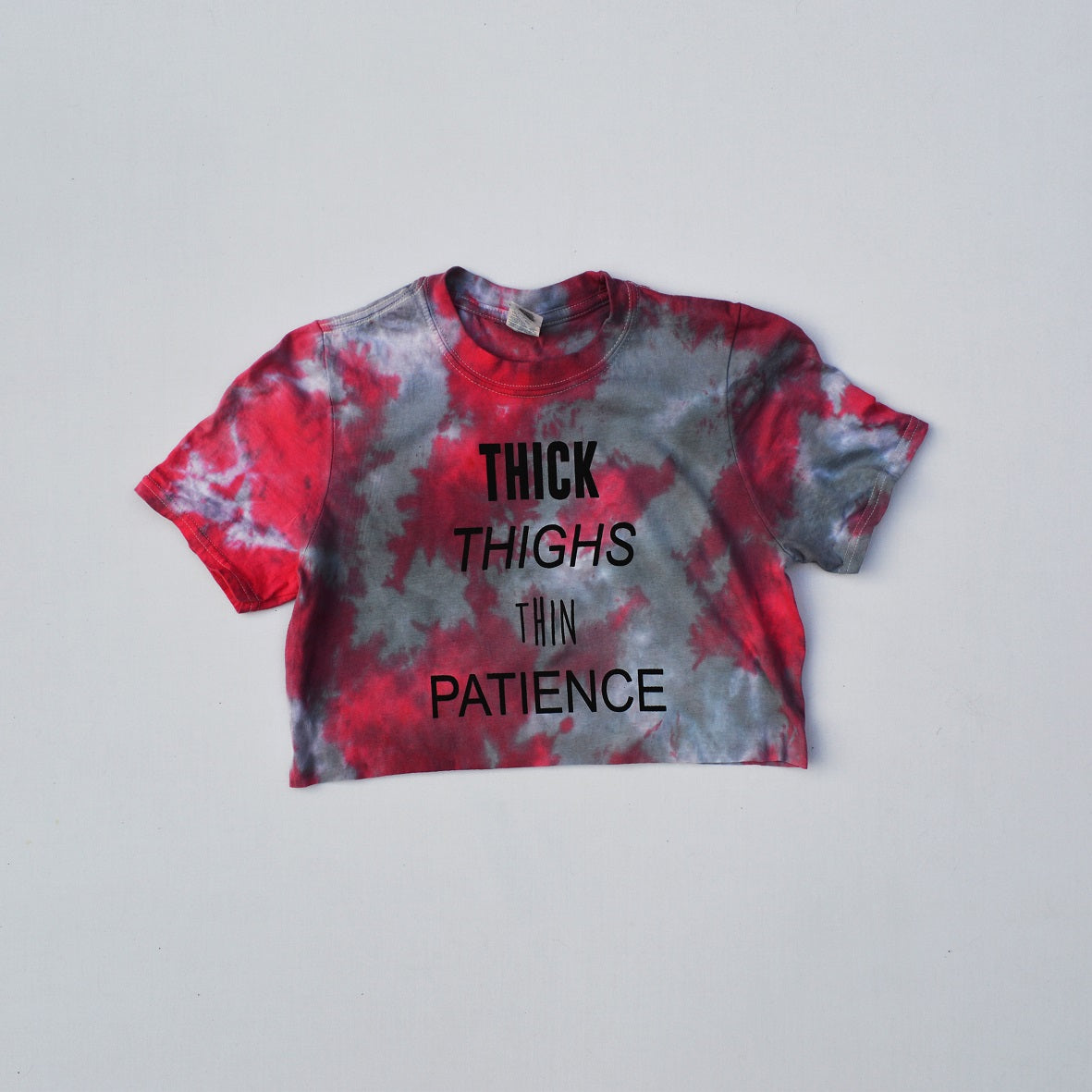 Thick Thighs Thin Patience Red/Black Tie Dye Crop Top