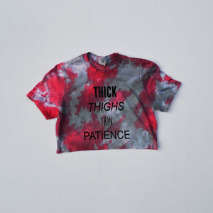 Thick Thighs Red/Black Tie Dye Crop Top