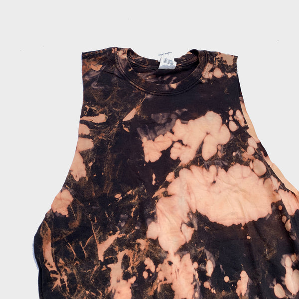Acid Burned Tie Dye Fringed Crop Top
