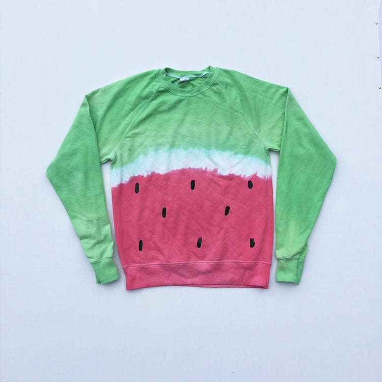 Watermelon Red/Green Tie Dye Sweatshirt