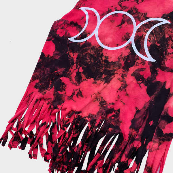 Mother Maiden Crone Red/Black Tie Dye Fringed Crop Top