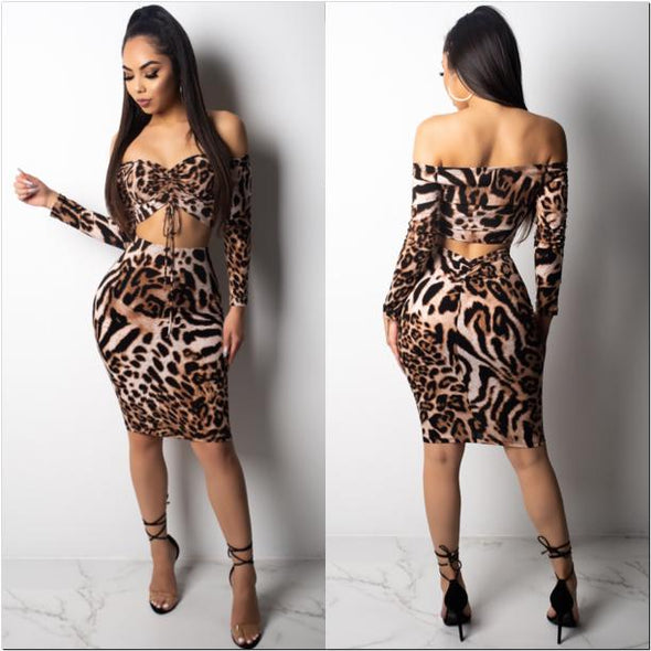 Nuria Leopard  Skirt Set