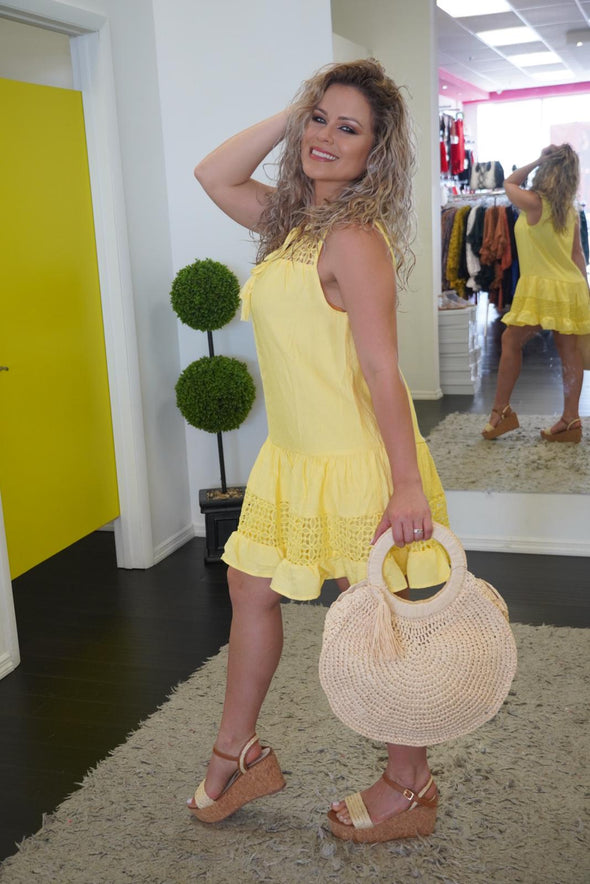 eyelet dress lemon