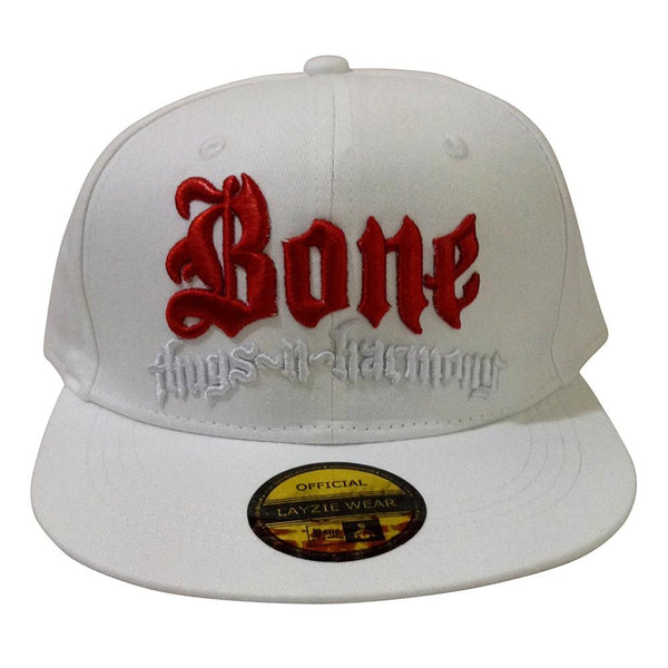 Red & White Bone Thugs n Harmony White Snapback - LayzieGear.com
