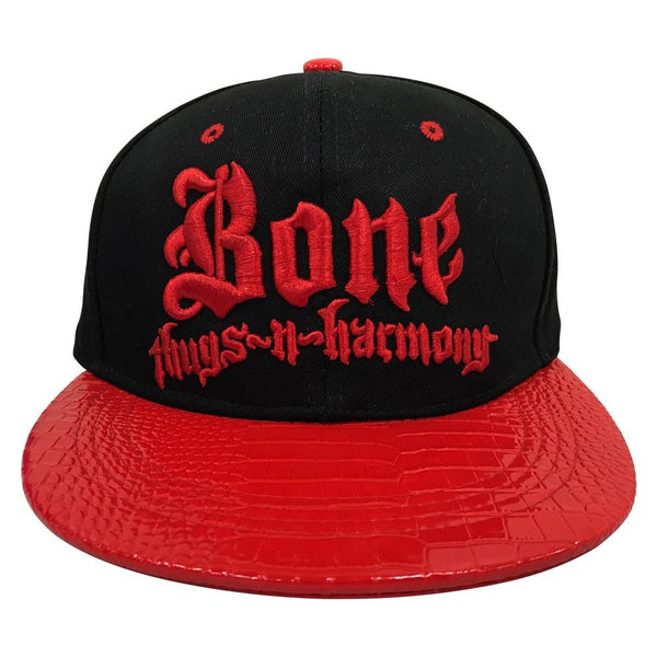 Black w/ 'Crocodile' Red Brim Bone Thugs n Harmony Snapback Hat - LayzieGear.com