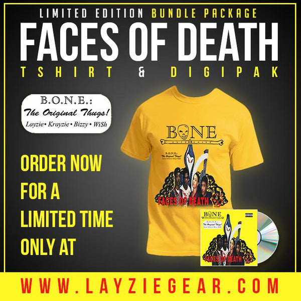 Faces of Death - Bone Thugs n Harmony CD & T-Shirt Set - Limited Edition - LayzieGear.com