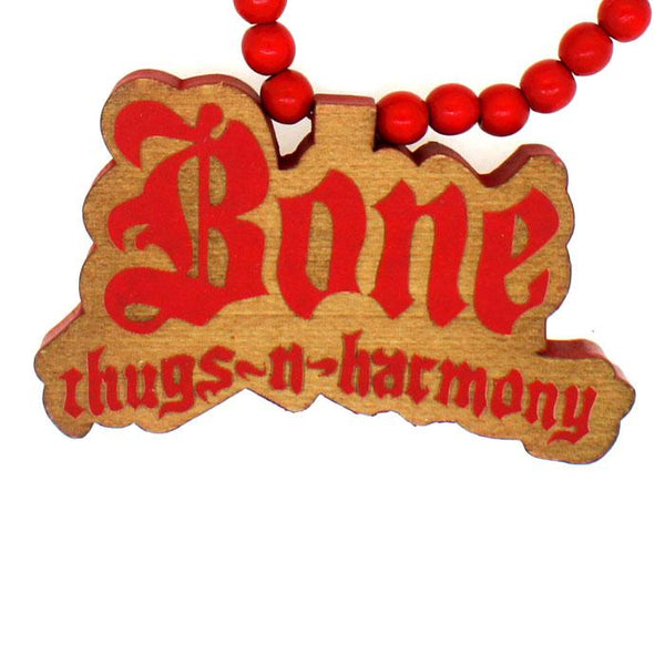 Bone Thugs N Harmony Wooden Pendant & Chain Red