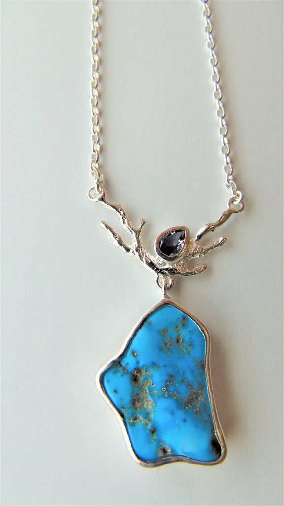 Raw turquoise and tanzanite necklace