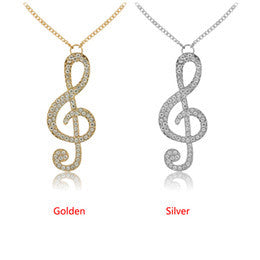 Music Note Crystal Necklace
