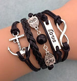 Love Owl Statement Leather Bracelet