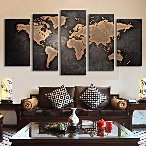 5 Canvas Black World Map