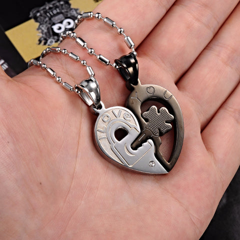Clover Heart Lock Couple Necklace