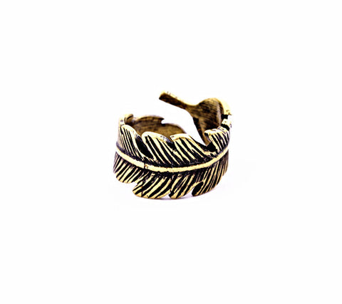 Adjustable Feather Detailed Ring