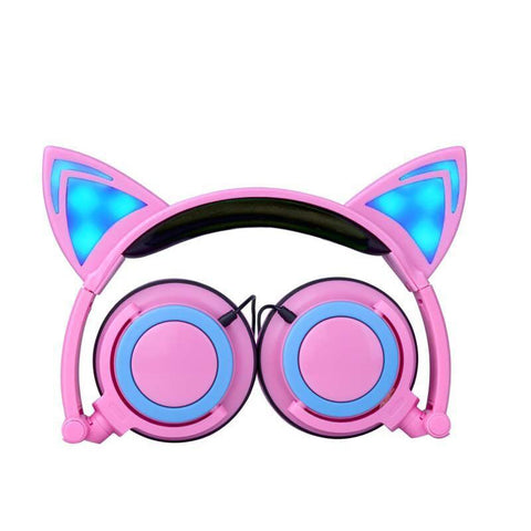 Cute Glowing Cat Ears Gaming Headphones