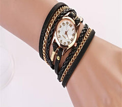 Braided Leather Strap Watch