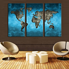 3 Split Abstract World Map Canvas